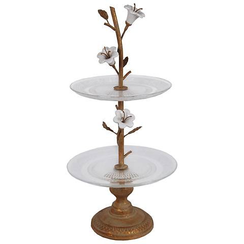 Bisenti Large Glass Tray On Metal Stand