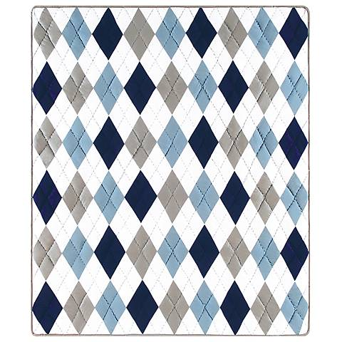 Argyle Blue Quilted Throw Blanket