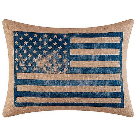 "Blue American Flag 18"" x 24"" Decorative Burlap Pillow"