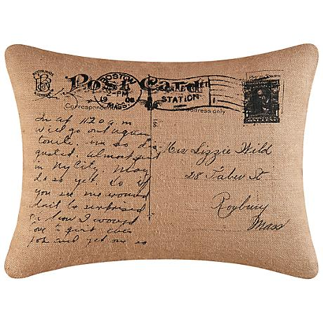 """Postcard 18"""" x 24"""" Decorative Burlap Pillow"""