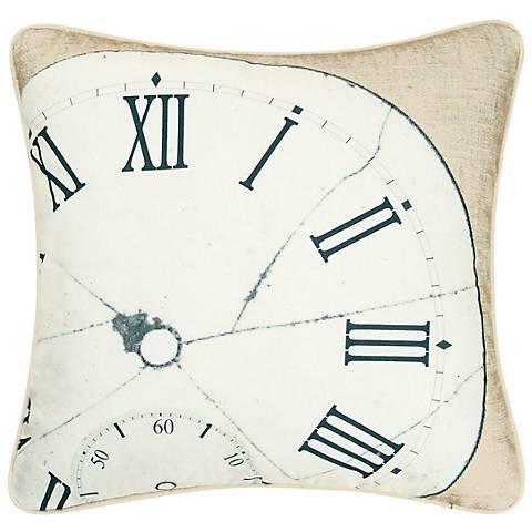 "Clock 18"" Square Decorative Printed Pillow"