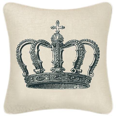 "Crown 18"" Square Decorative Printed Pillow"