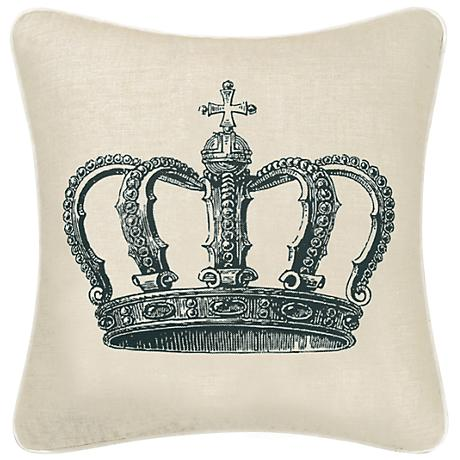 "Crown 18"" Square Decorative Printed Pillow"