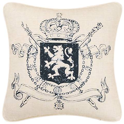 "Crest 18"" Square Decorative Printed Pillow"