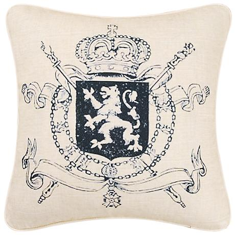 "Crest 18"" Square Decorative Printed Pillow"