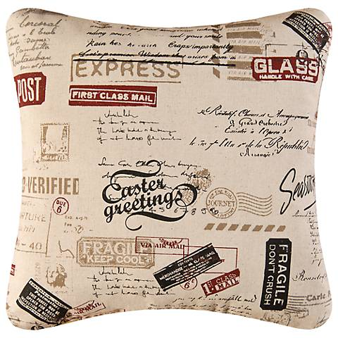 """Air Mail 18"""" Square Decorative Printed Pillow"""