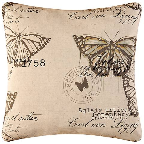 "Butterflies 18"" Square Decorative Printed Pillow"