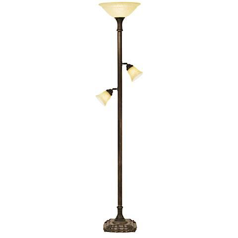 Kathy Ireland Timeless Beauty Old Brass Torchiere Floor Lamp