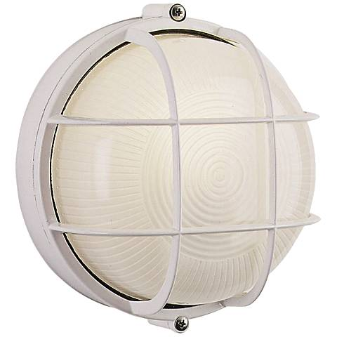 """Nauticus Collection 7"""" Round White Outdoor Wall Light"""
