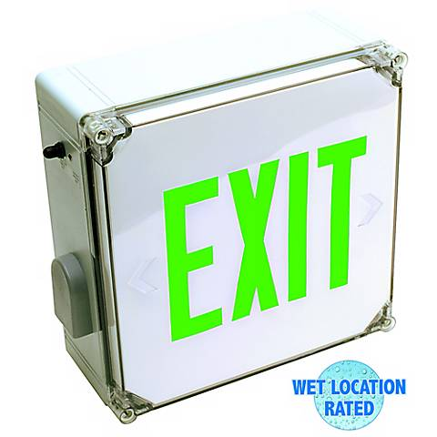 Wet Location Green LED Emergency Exit Sign with Battery