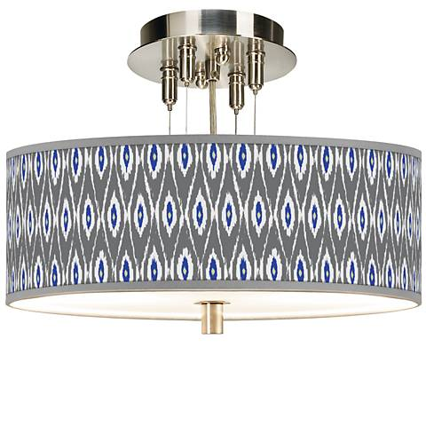 "American Ikat Giclee 14"" Wide Ceiling Light"