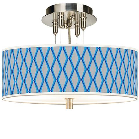 "Blue Matrix Giclee 14"" Wide Ceiling Light"