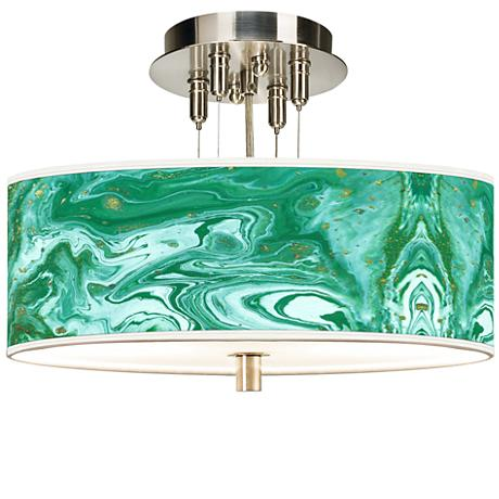 "Malachite Giclee 14"" Wide Ceiling Light"
