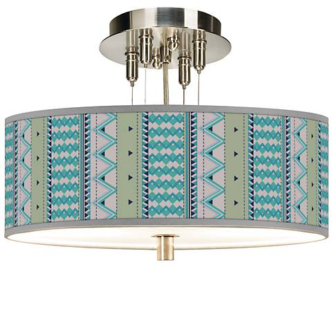 "Geo Metrix Giclee 14"" Wide Ceiling Light"