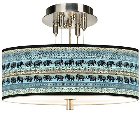 """Elephant March Giclee 14"""" Wide Ceiling Light"""