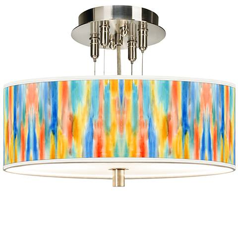 "Tricolor Wash Giclee 14"" Wide Ceiling Light"