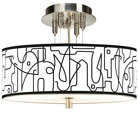 "Scribble World Giclee 14"" Wide Ceiling Light"