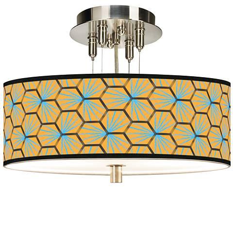 "Hexagon Starburst Giclee 14"" Wide Ceiling Light"