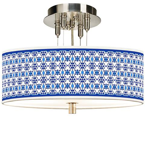 "Indigo Path Giclee 14"" Wide Ceiling Light"