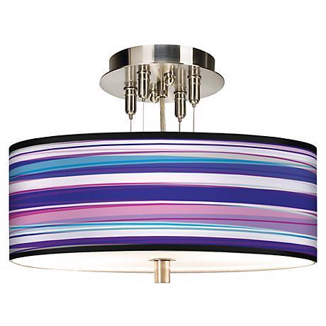 "Purple Neon Giclee 14"" Wide Ceiling Light"
