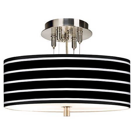 "Bold Black Stripe Giclee 14"" Wide Ceiling Light"