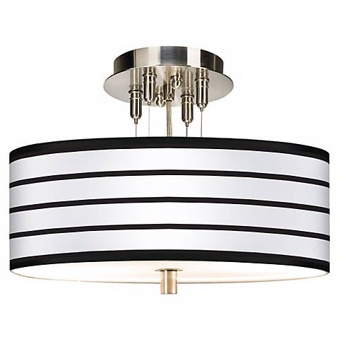"Black Parallels on White Giclee 14"" Wide Ceiling Light"