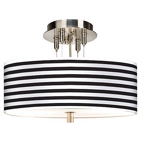 "Black Horizontal Stripe Giclee 14"" Wide Ceiling Light"