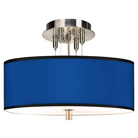 "All Blue Giclee 14"" Wide Ceiling Light"