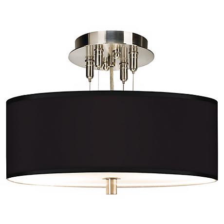 """All Black Giclee 14"""" Wide Ceiling Light"""