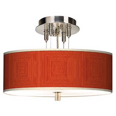 """Stacy Garcia Crackled Square Coral 14"""" Wide Ceiling Light"""