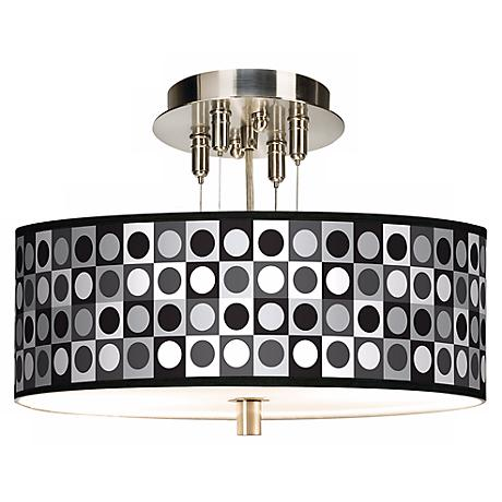 "Black and Grey Dotted Squares Giclee 14"" Wide Ceiling Light"