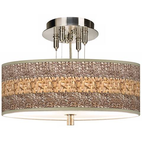 "Woven Fundamentals Giclee 14"" Wide Ceiling Light"