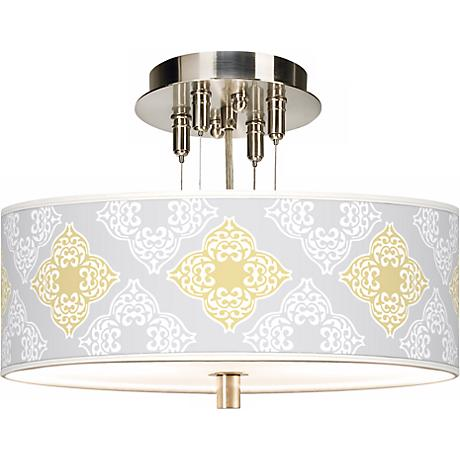 """Aster Grey Giclee 14"""" Wide Ceiling Light"""