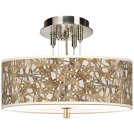 """Organic Nest Giclee 14"""" Wide Semi-Flush Ceiling Light"""