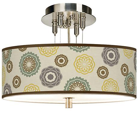 """Ornaments Linen 14"""" Wide Giclee Ceiling Light"""