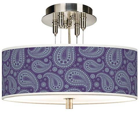 "Purple Paisley Linen 14"" Wide Semi-Flush Ceiling Light"