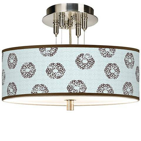 "Weathered Medallion Giclee 14"" Wide Semi-Flush Ceiling Light"