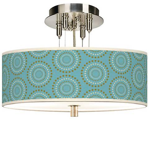 """Blue Calliope Linen Giclee 14"""" Wide Semi-Flush Ceiling Light"""