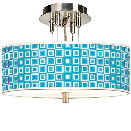 """Blue Boxes Linen Giclee 14"""" Wide Semi-Flush Ceiling Light"""