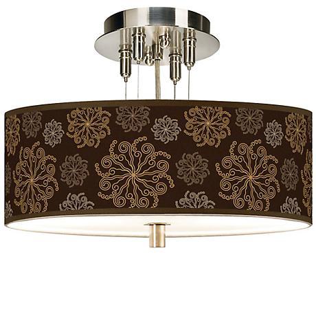 "Chocolate Blossom Giclee 14"" Wide Semi-Flush Ceiling Light"