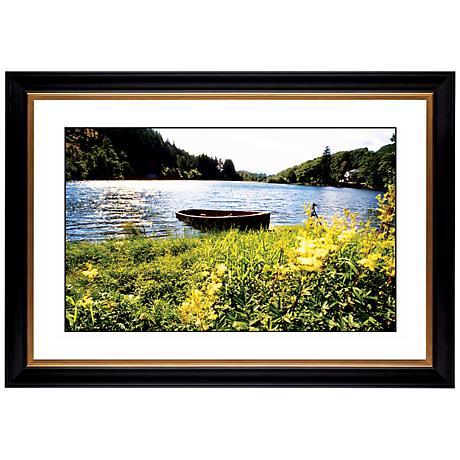 "Lake Fishing Boat Giclee 41 3/8"" Wide Wall Art"
