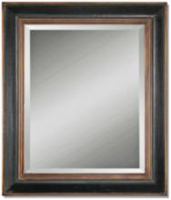 "Uttermost Fabiano Black 36""x42"" Beveled Wall Mirror"