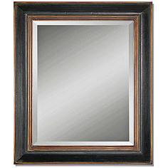 "Uttermost Fabiano Black 36""x42"" Beveled Wall Mirror"