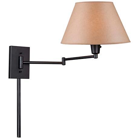 Kenroy Black Simplicity Plug-In Swing Arm Wall Lamp