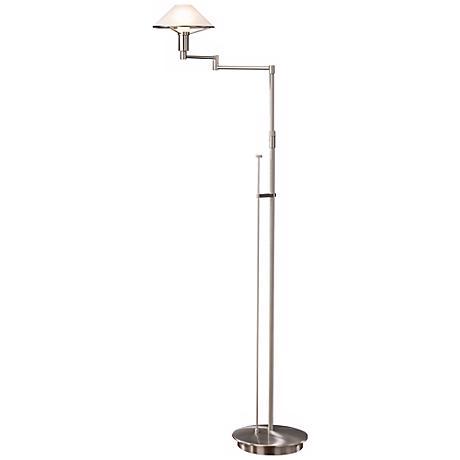 Satin Nickel White Alabaster Glass Holtkoetter Floor Lamp