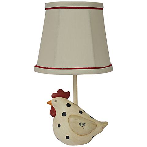 Big Fat Hen Polka Dot Accent Table Lamp with Linen Shade