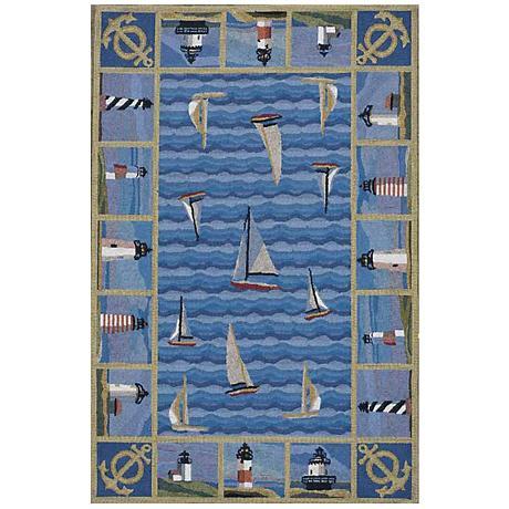 Kas Colonial Blue COL1335 Wool Area Rug