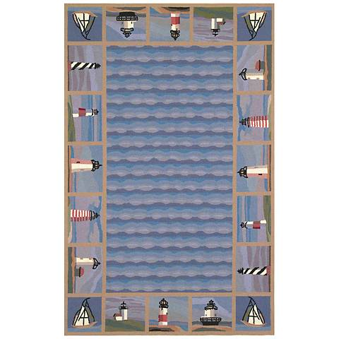 Kas Colonial Blue COL1802 Wool Area Rug