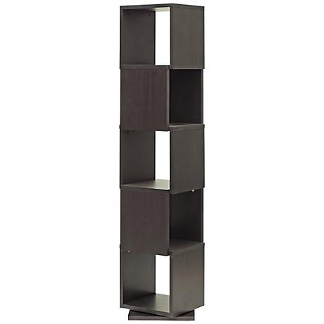 Ogden Dark Brown 5-Level Rotating Modern Bookshelf