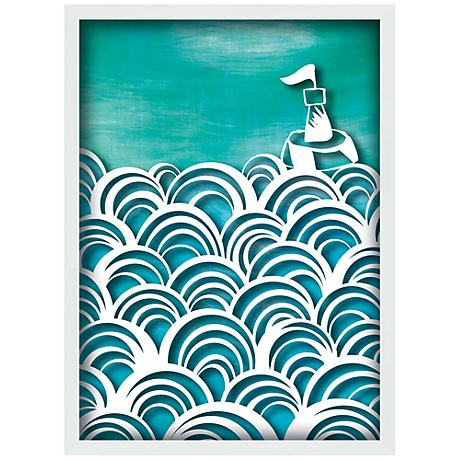 "Ocean Swirls 15"" High Coastal Giclee Wall Art"
